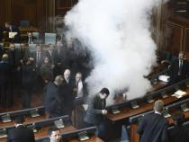 Opposition lawmakers throw tear gas in Kosovo's Parliament